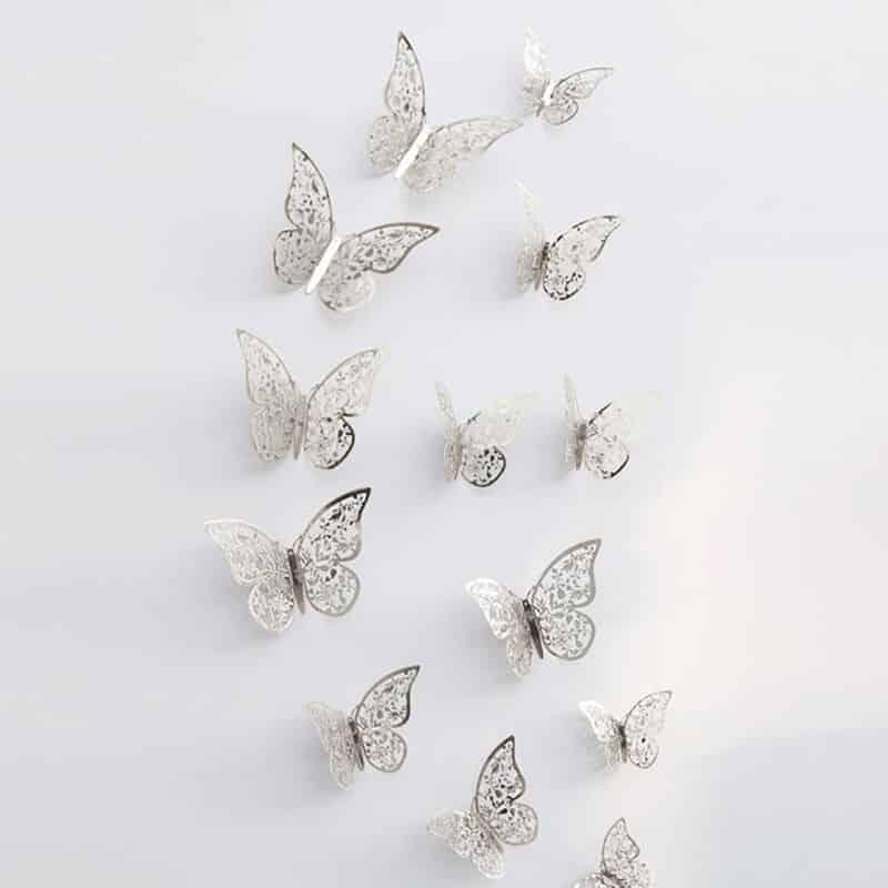 3d metuljčki srebrna barva za steno