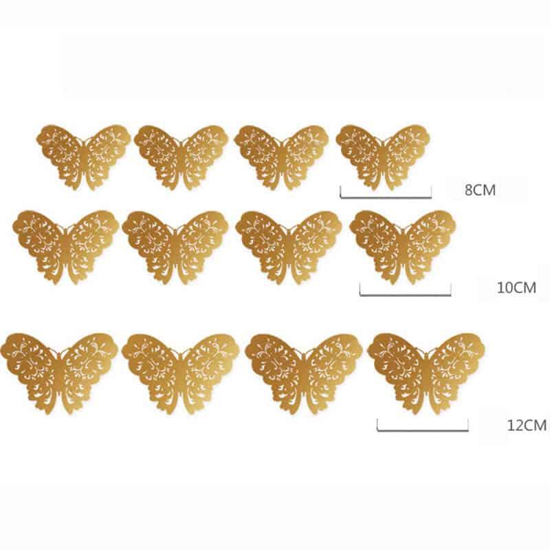 3D metuljčki zlata ali srebrna barva 14