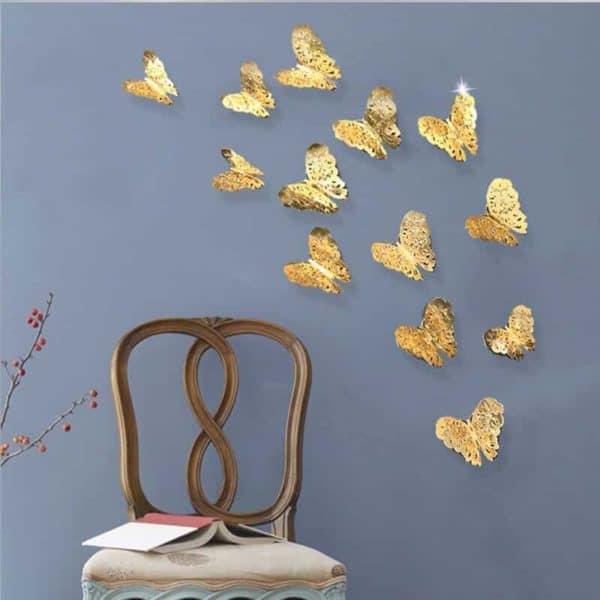 3D metuljčki zlata ali srebrna barva 3
