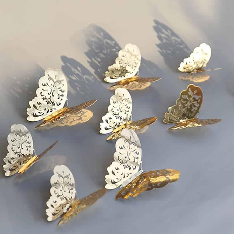 3d metuljčki zlata barva