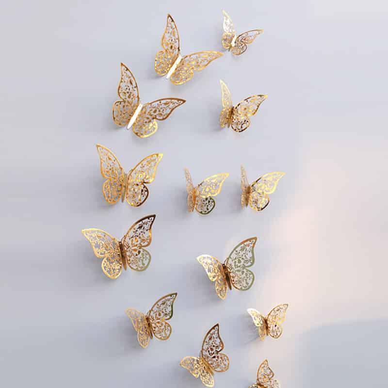 3d metuljčki zlate barve