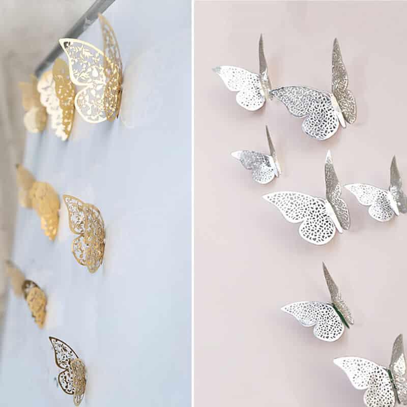 3D metuljčki zlata ali srebrna barva 10