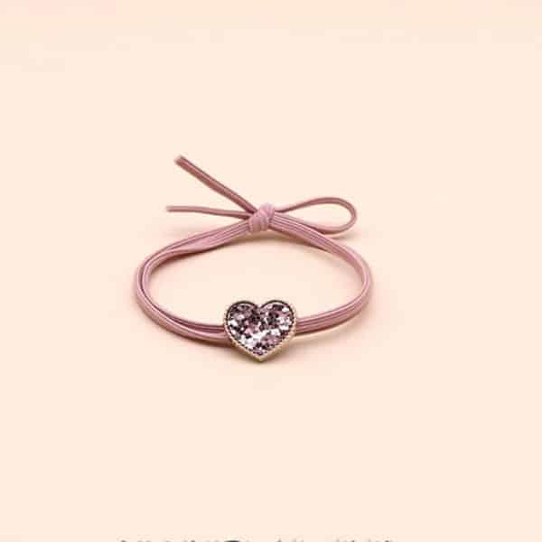 Elastika za lase z diamantnim srčkom