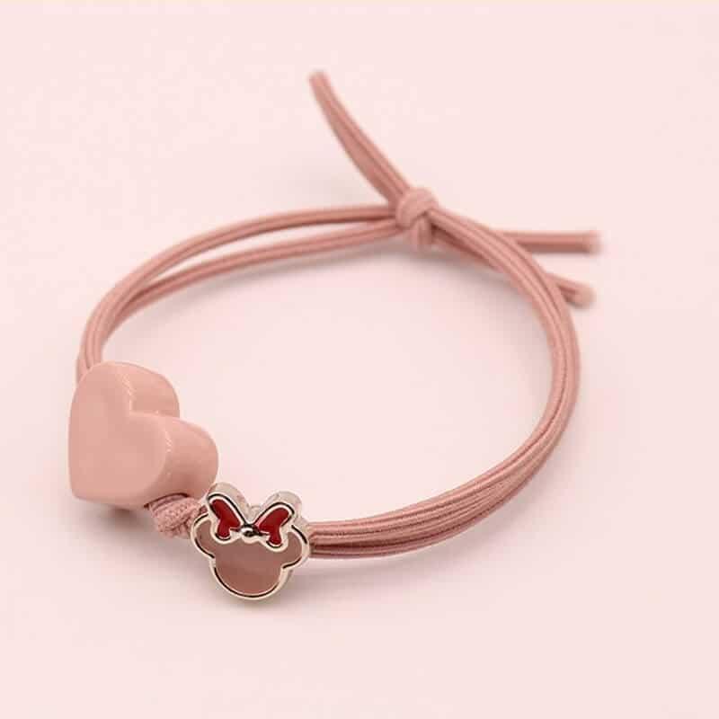 Gumica za lase z srčkom roza barva