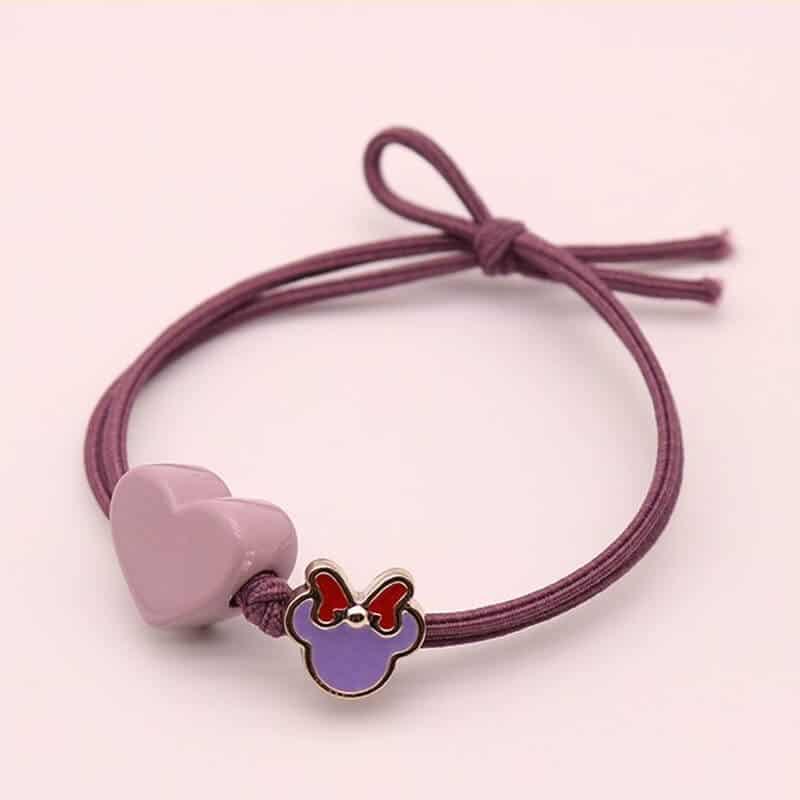 Gumica za lase z srčkom vijolična barva