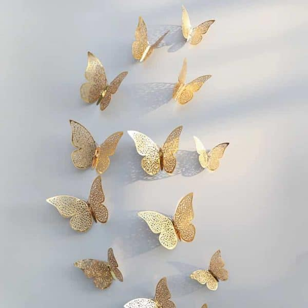 Stenske nalepke 3d metuljček zlaat barva