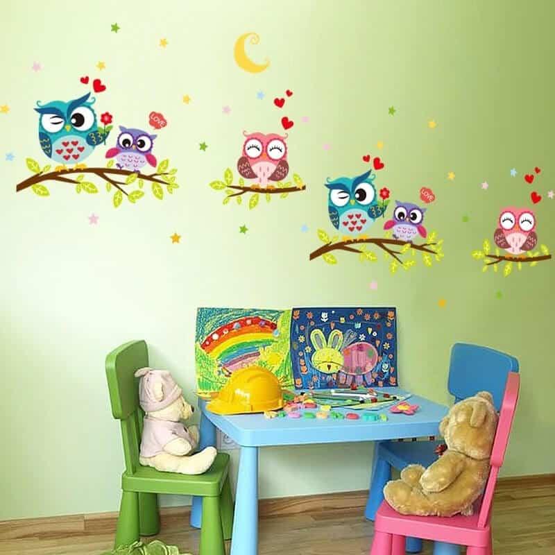 Stenske nalepke za otroško sobo barvite sove