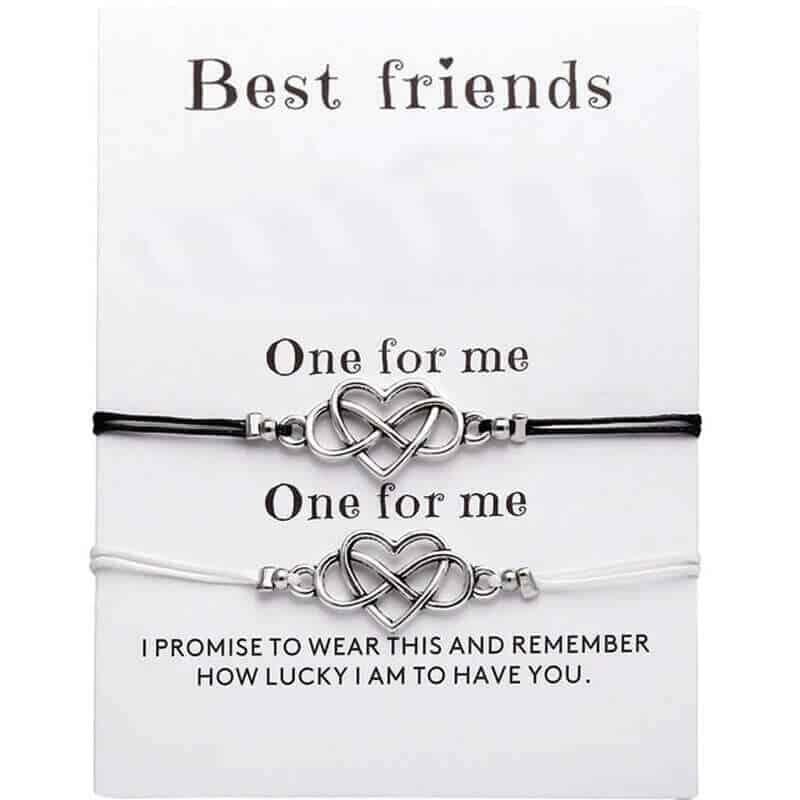 Zapestnica prijateljstva znak neskončnosti in srca komplet zapestnic (1)