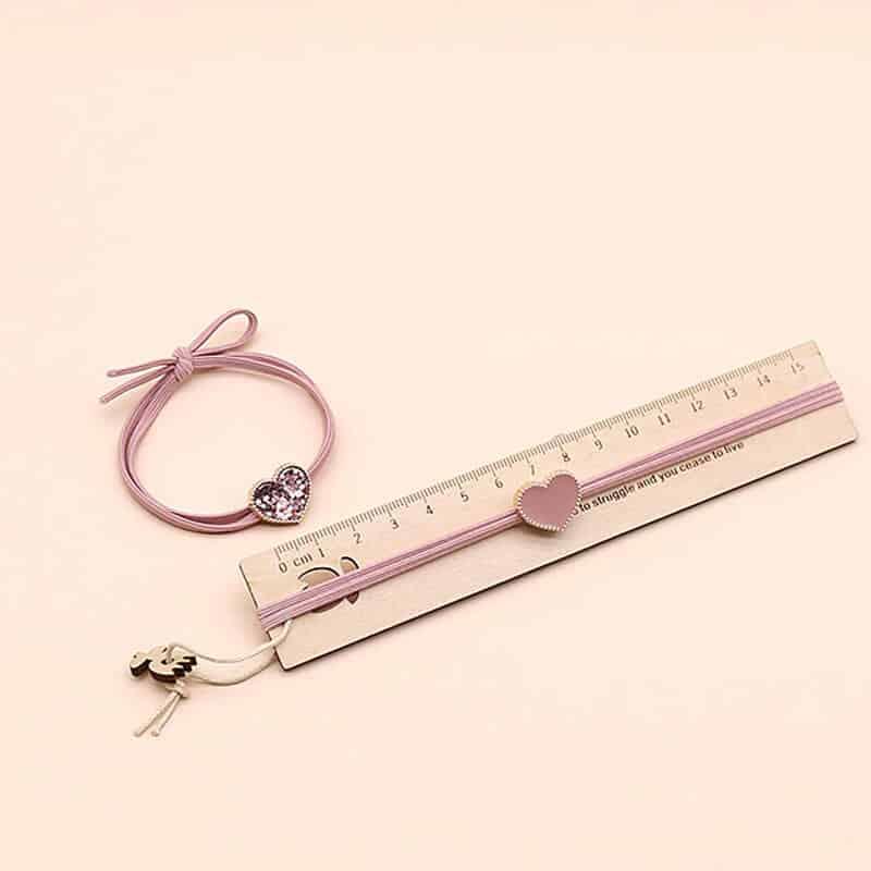 Elastika za lase z diamantnim srčkom roza barva
