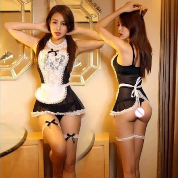 erotični kostum črne barve služkinja