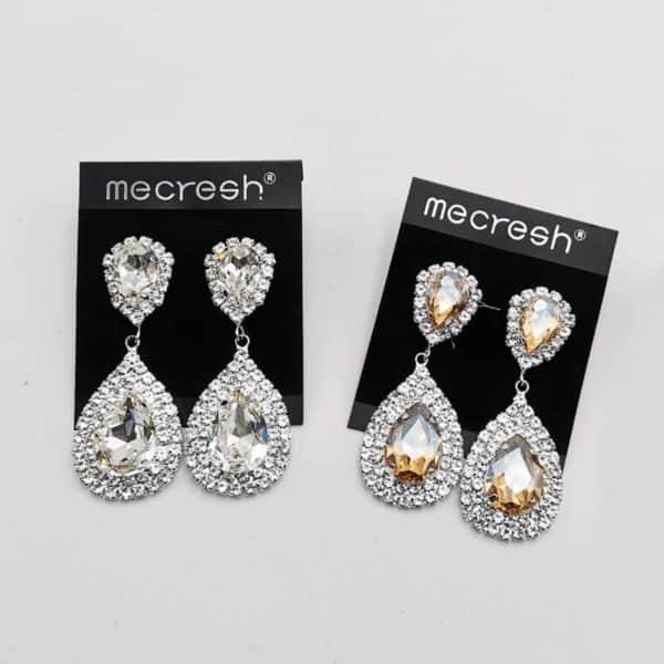 srebrni uhani z diamanti in dvema kristaloma modni