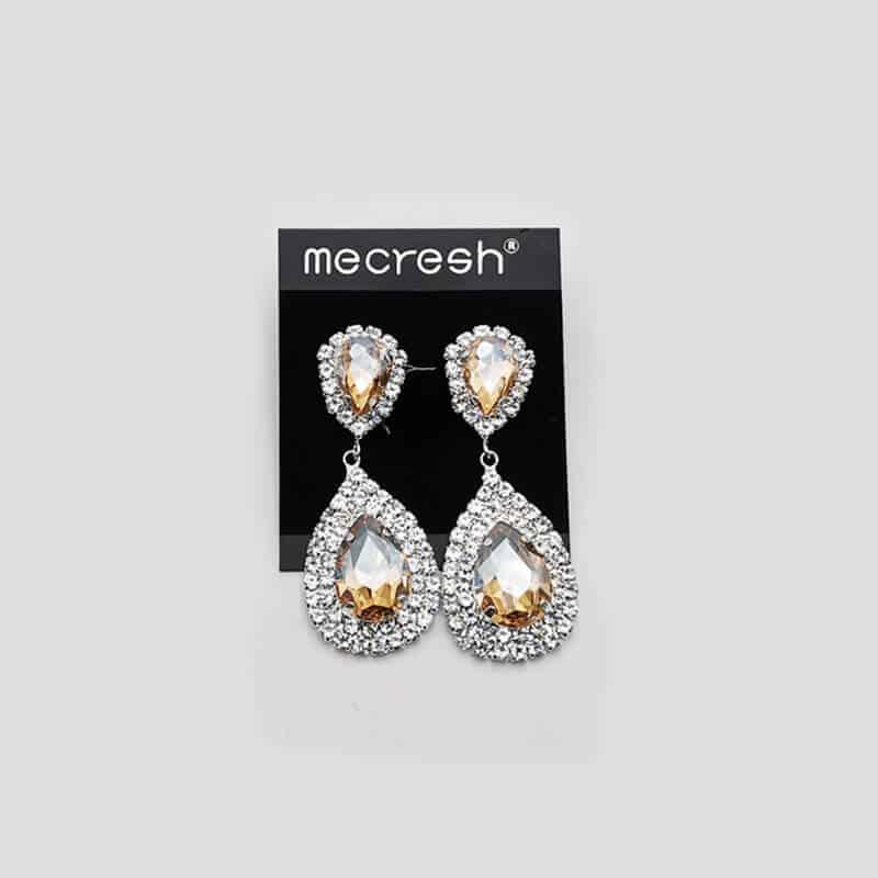 srebrni uhani z zlatim kristalom in srebrnimi diamanti viseči uhani