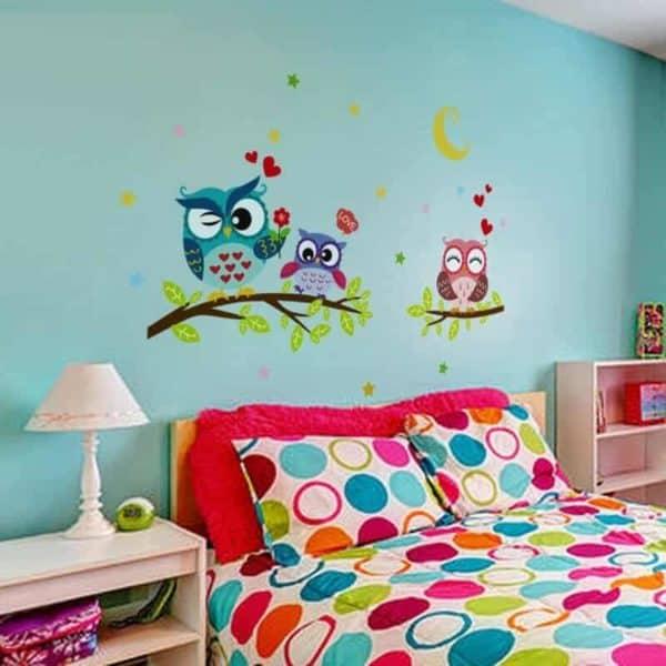 stenske nalepke motiv barvite sove