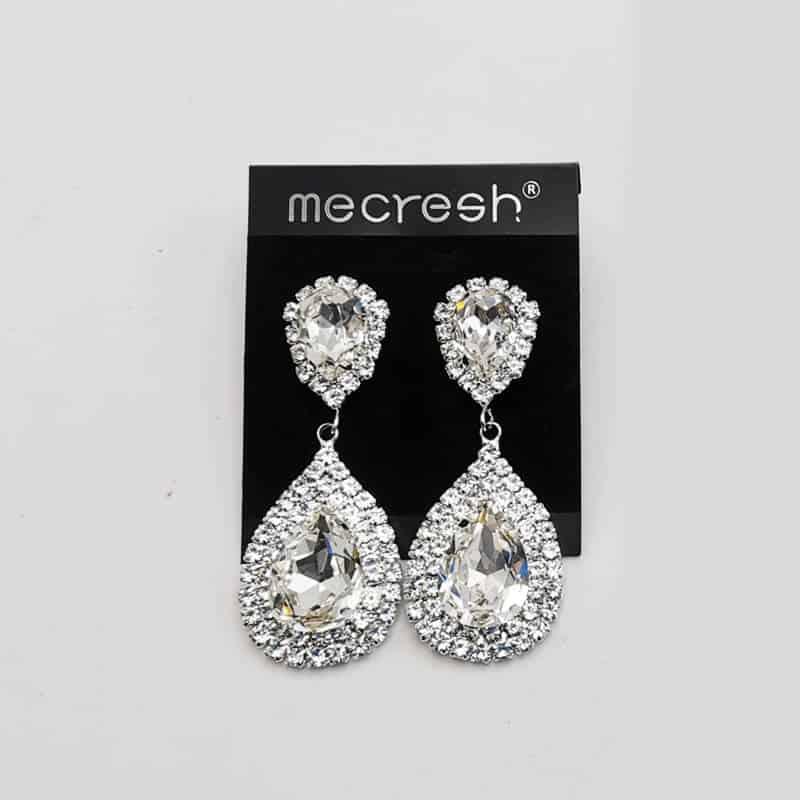 uhani mecresh srebrne barve s kristali in diamanti