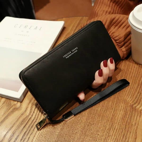 Črna usnjena denarnica za ženske velika
