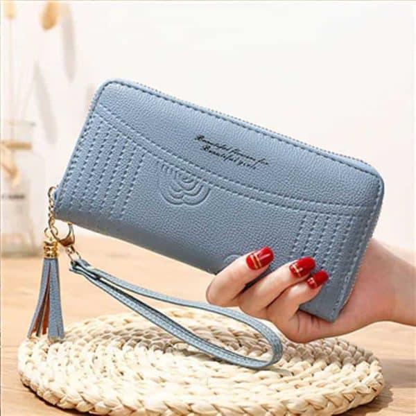 Ženska denarnica iz usnja z natpisom modra