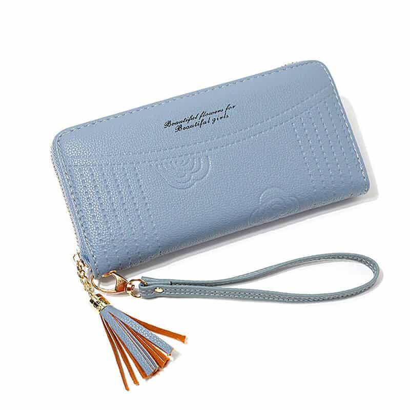 ženska denarnica iz usnja z natpisom modra barva