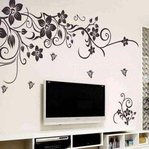Dekorativna stenska nalepka cvetje in metuljčki