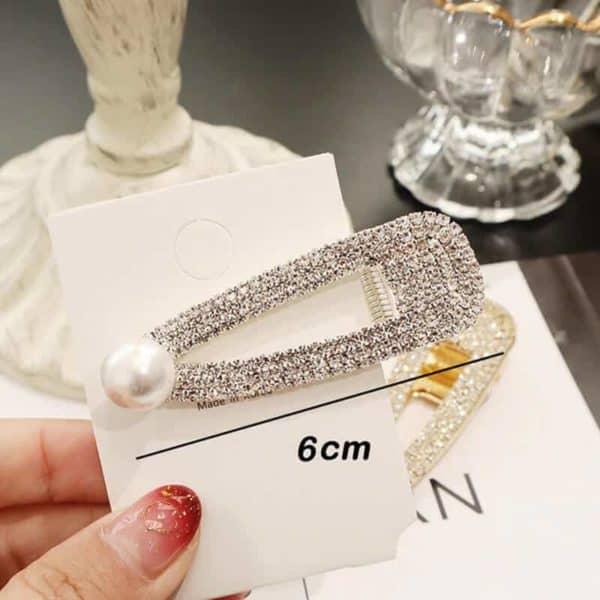 Sponke za lase z bleščečimi dijamantki in biserčkom srebrna