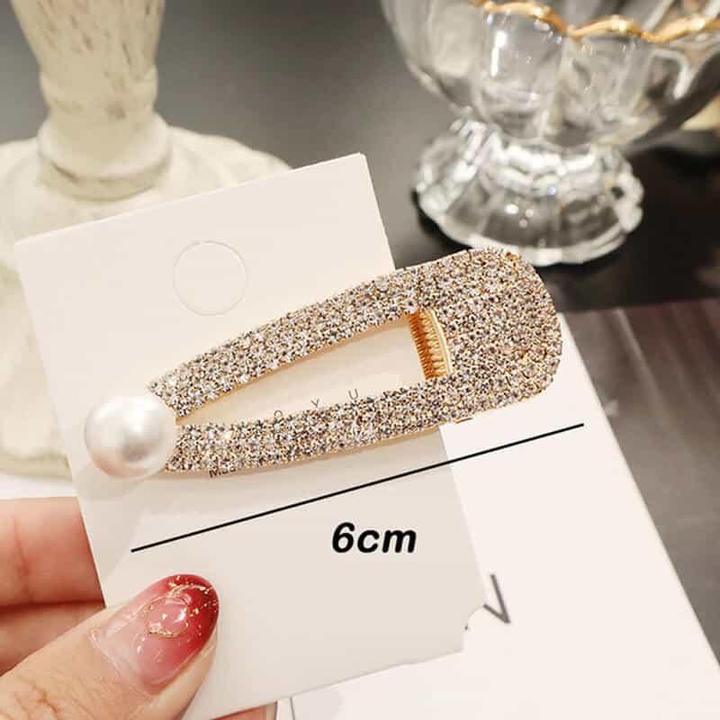 Sponke za lase z bleščečimi dijamantki in biserčkom zlata