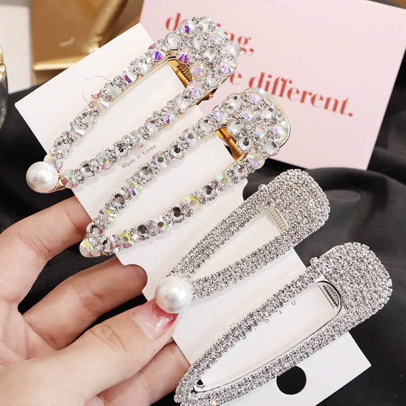 Sponke za lase z bleščečimi dijamantki in biserčkom