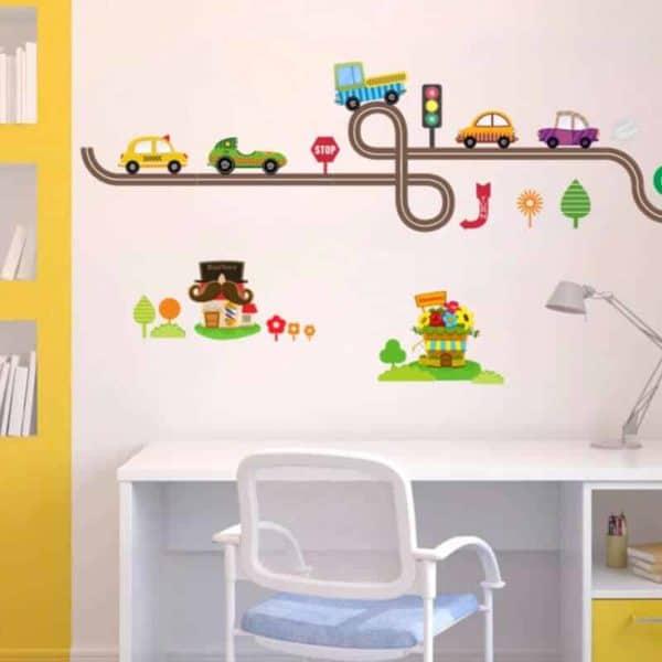 Stenska nalepka cesta in barvita vozila otroška soba