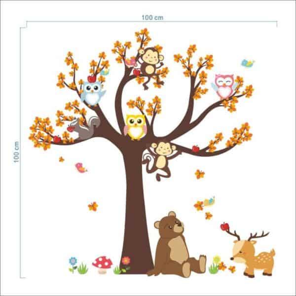 Stenska nalepka drevo z veselimi živali velikost
