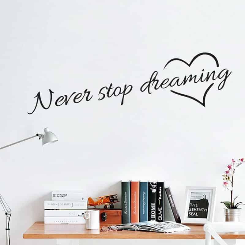 Stenska nalepka nikoli ne nehaj sanjati pozitivne misli