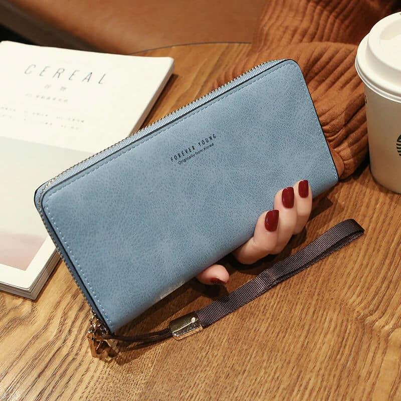 Temno modra usnjena denarnica za ženske