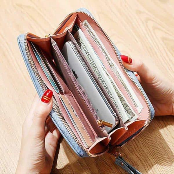 Ženska denarnica iz usnja z natpisom velikost