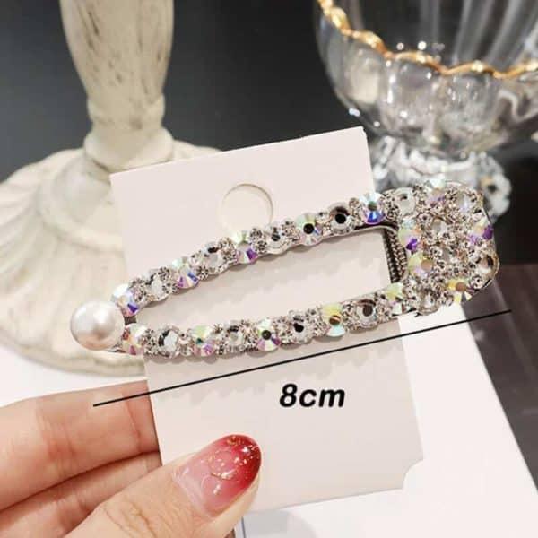 Sponke za lase z bleščečimi dijamantki in biserčkom srebrna barva