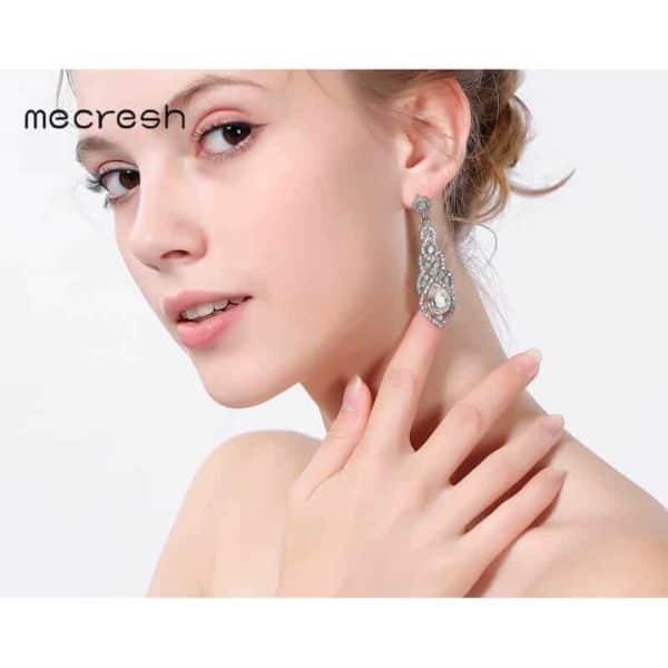 dolgi viseči uhani srebrni modni