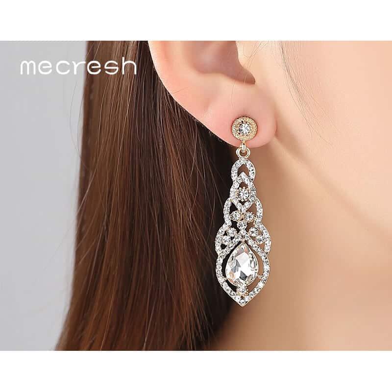 modni uhani viseči kristal in diamanti