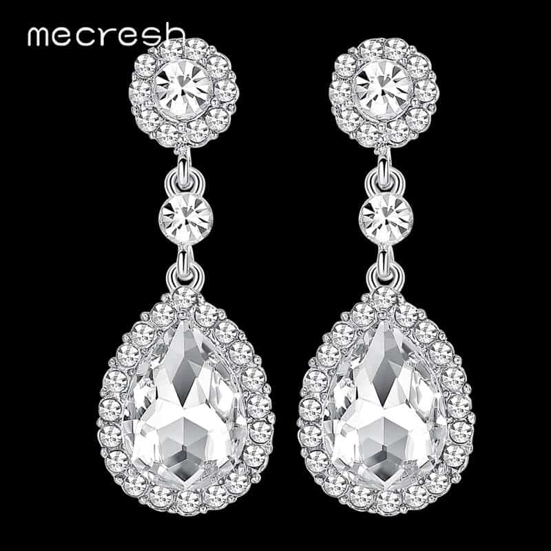 srebrni uhani dolgi viseči s kristalom diamantom