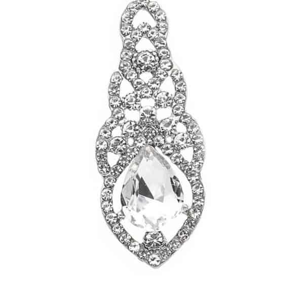 srebrni uhani z velikim kristalom in veliko diamantov