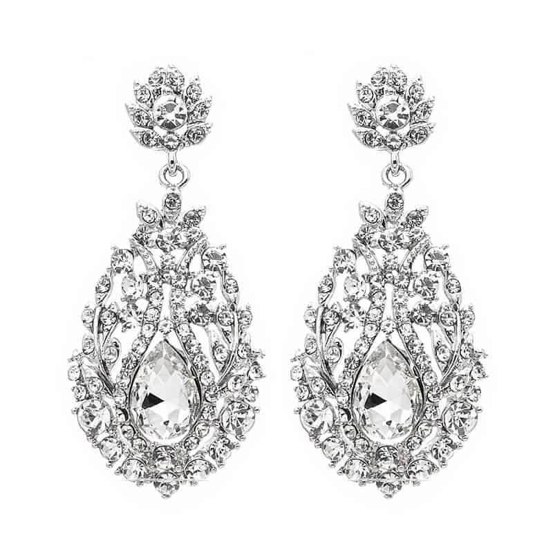 Viseči uhani angelska krona z diamantki in kristaloma 1