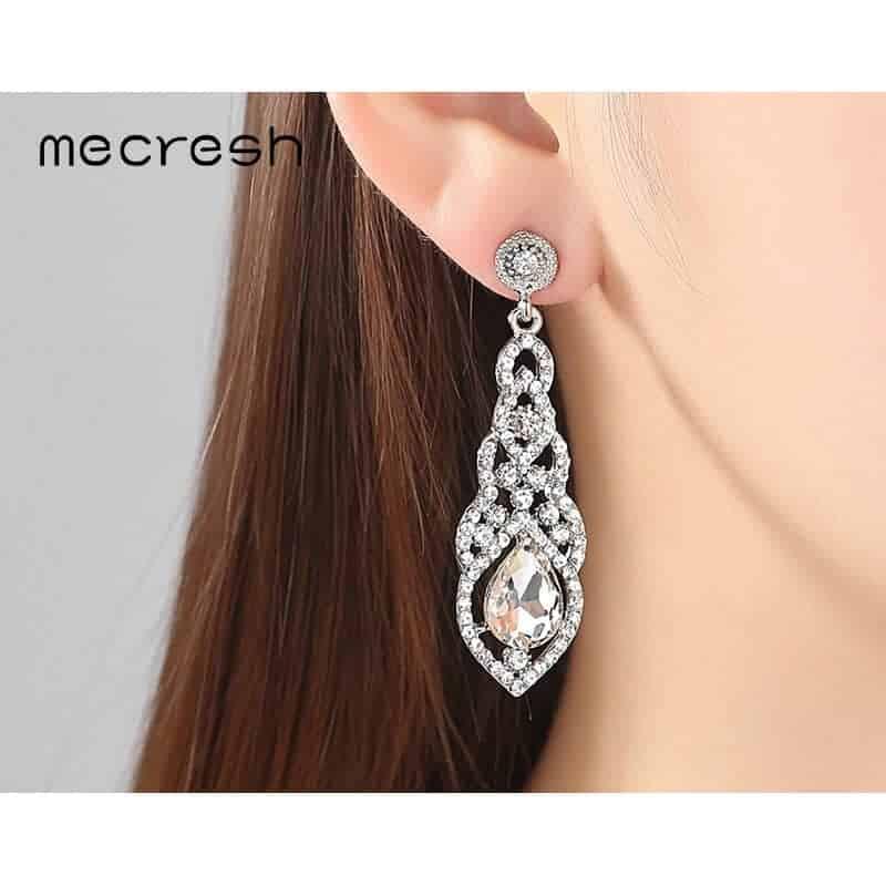 uhani viseči z diamanti srebrni uhani