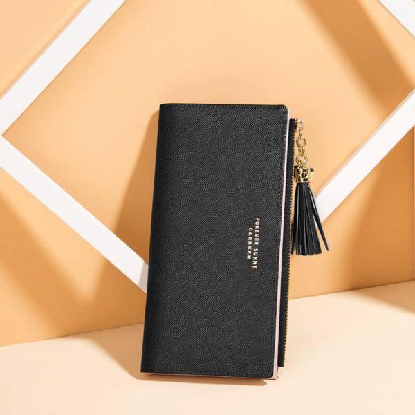 usnjena denarnica za ženske črne barve dolga