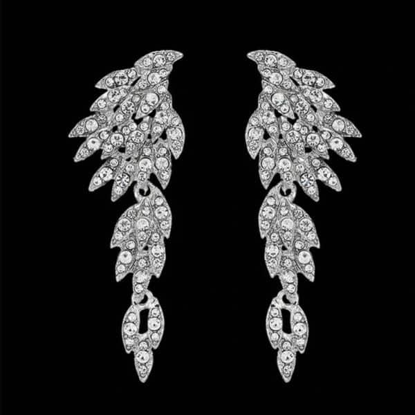 viseči uhani angelska krila z diamanti