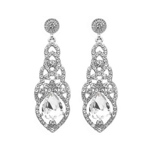 viseči srebrni uhani z diamanti in velikim kristalom