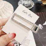 Bleščeče sponke za lase pravokotna oblika srebrna