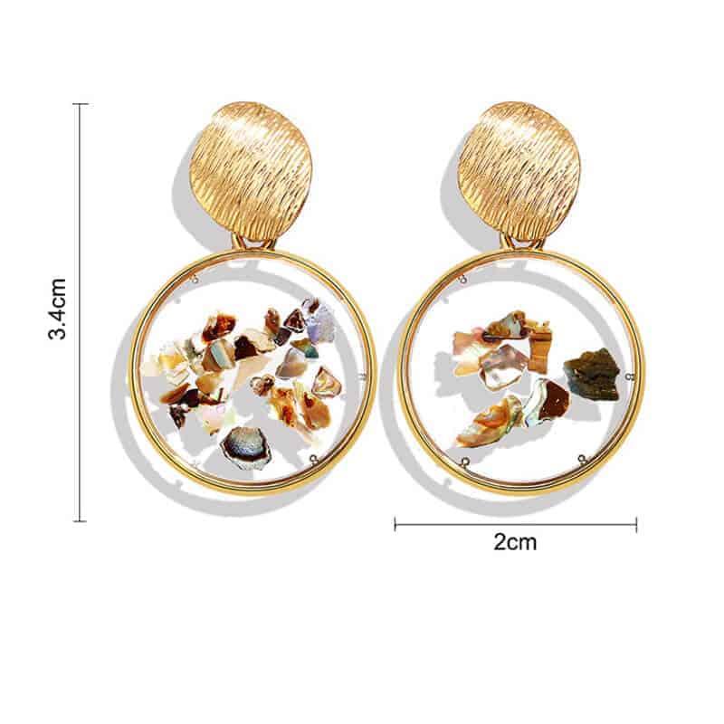 Viseči uhani z unikatni detajli okrogli velikost