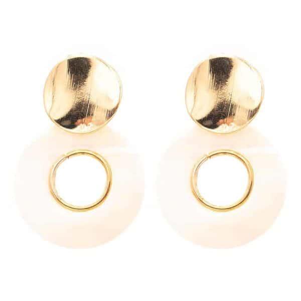 uhani zlati v obliki kroga in kroglega zlata