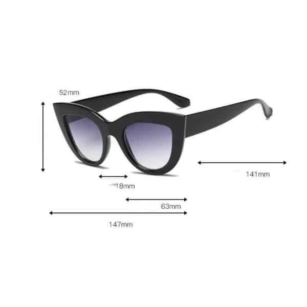 ženska črna sončna očala velikost