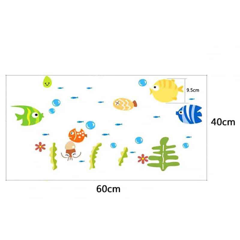 otroške stenske nalepke velikost ribic