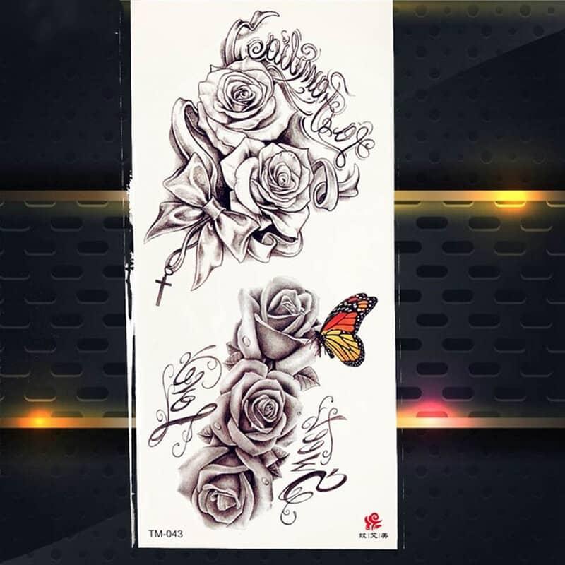 začasni tattoo metulj in cvetovi