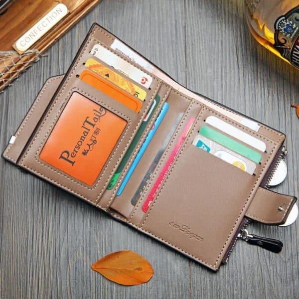 moška usnjena denarnica črne in sive barve