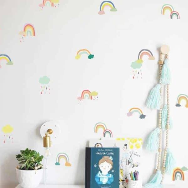 nalepke za otroško sobo mavrice z oblaki