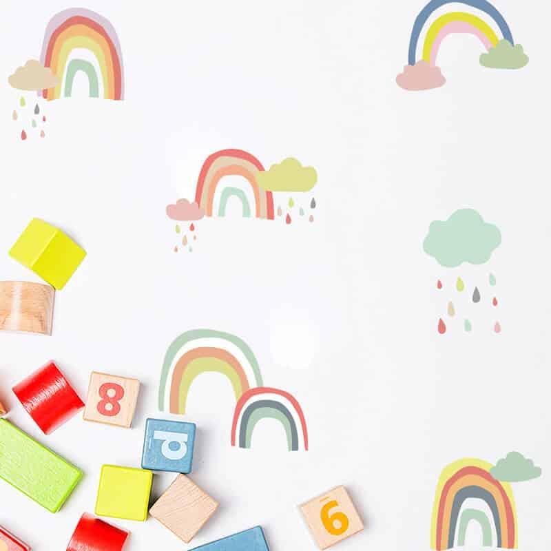 stenske nalepke barvne mavrice z oblaki