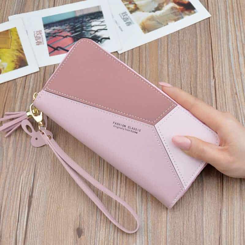 usnjena denarnica za ženske roza